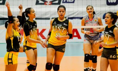 Tiebreaker Times Eya Laure scintillates anew as UST holds off Arellano to sweep Pool B AU News PVL UST Volleyball  UST Women's Volleyball Sarah Verutiao Obet Javier Nicole Sasuman MaFe Galanza Kungfu Reyes kc galdones Eya Laure charmina dio Arellano Women's Volleyball 2019 PVL Season 2019 PVL Collegiate Conference