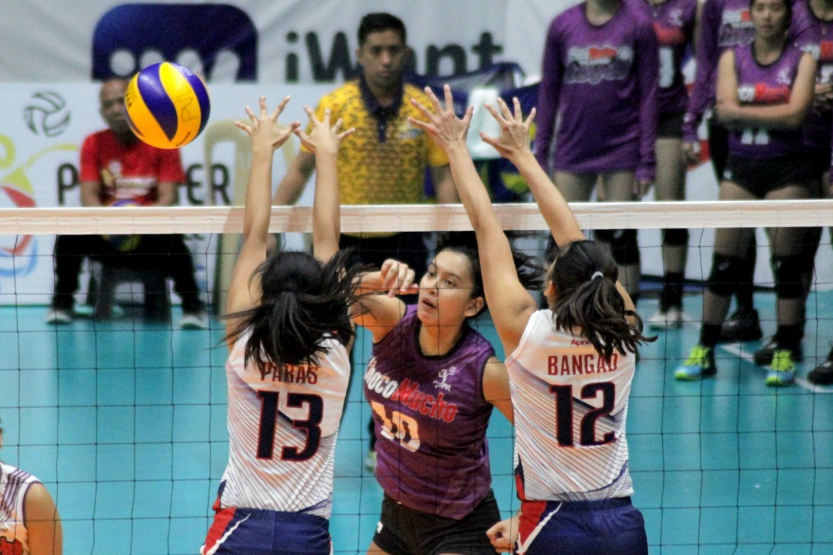 Tiebreaker Times Kat Tolentino hammers 36 as Choco Mucho ends skid News PVL Volleyball  Shannen Palec Satrianni Espiritu Pacific Town-Army Lady Troopers Nieza Viray Kim Geguillana Kat Tolentino Jem Guttierez Iris Oliveros Grazielle Bombita Ging Balse-Pabayo Erika Alkuino Choco Mucho Flying Titans Chef's Classics Red Spikers Bali Pure Purest Water Defenders ac masangkay 2019 PVL Season 2019 PVL Open Conference