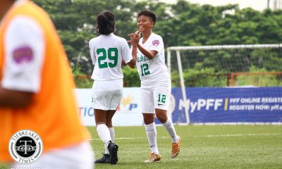 Tiebreaker Times La Salle remains on top of PFFWL table as UST keeps perfect slate DLSU FEU Football News PFF Women's League UST  UST Women's Football Tuloy FC Tigers FC Stephen Permanes Stallion-Hiraya FC Stacey Arthur Philip Dinglasan Nomads FC Nina Yanto Nathalie Absalon Maroons FC Let Dimzon Lalaine Durano Kristine Joy Abo-abo Jonalyn Lucban Haya Ibarra Hans-Peter Smit FEU Women's Football DLSU Women's Football Angelica Teves Andrea Montilla Andie Tiongson Aging Rubio 2019 PFFWL Season