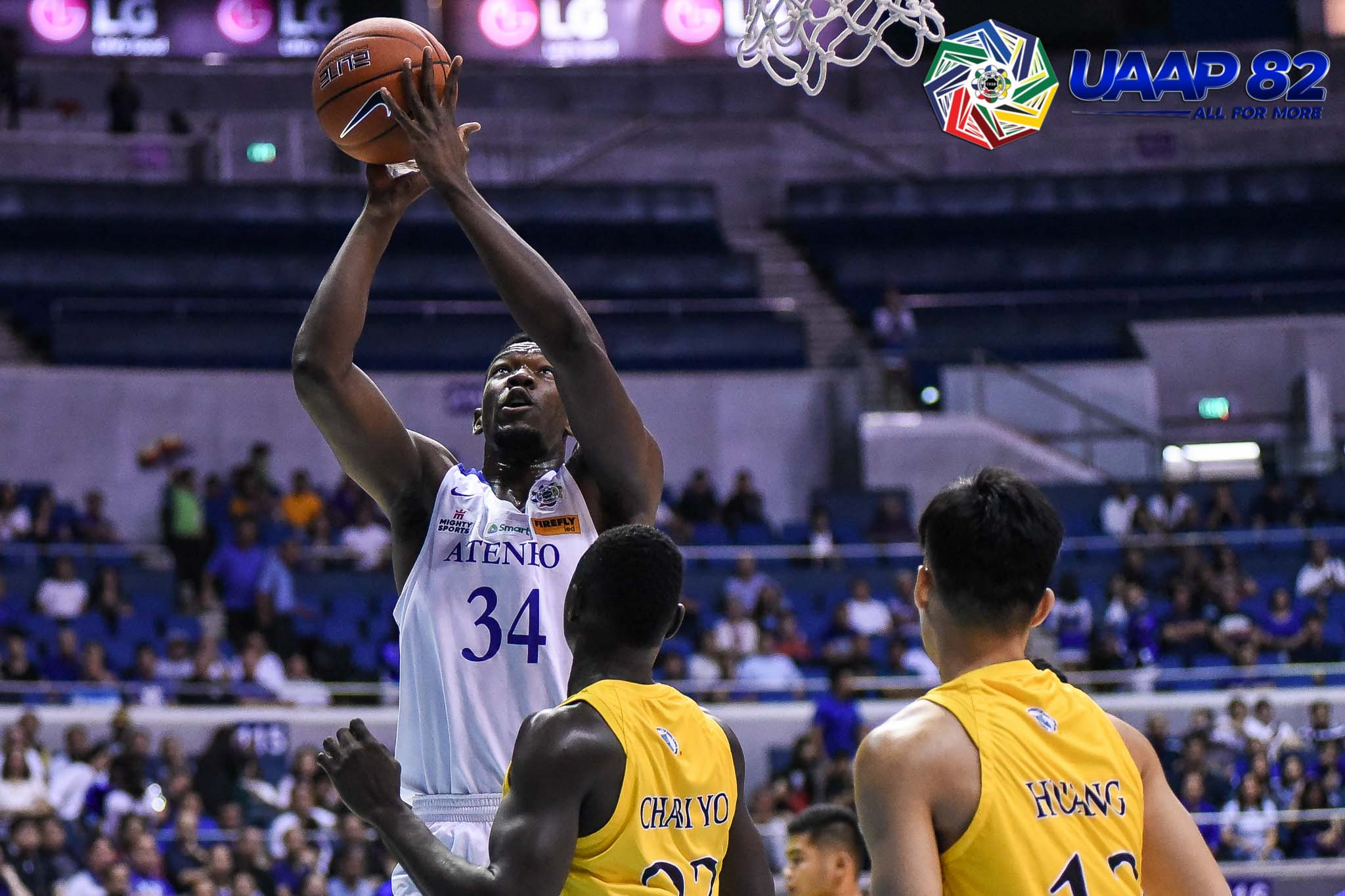 Tiebreaker Times Kouame comes alive late as Ateneo escapes UST ADMU Basketball News UAAP UST  UST Men's Basketball UAAP Season 82 Men's Basketball UAAP Season 82 Thirdy Ravena Soulemane Chabi Yo Gian Mamuyac Ateneo Men's Basketball Angelo Kouame