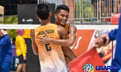 Tiebreaker Times UST's Requinton-Varga, FEU's Garcia-Hadlocon remain on top ADMU AdU Beach Volleyball DLSU FEU News NU UAAP UE UP UST  Vince Maglinao UST Men's Volleyball UP Men's Volleyball UE Men's Volleyball UAAP Season 82 Men's Beach Volleyball UAAP Season 82 Rancel Varga NU Men's Volleyball Nicolo Consuelo Louis Gamban Kevin Hadlocon Jude Garcia Jaron Requinton Ian Jumandos FEU Men's Volleyball DLSU Men's Volleyball Ateneo Men's Volleyball Adamson Men's Volleyball