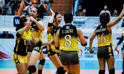 Tiebreaker Times EJ Laure delivers late as UST outlasts Ateneo to advance to PVL Finals ADMU News PVL UST Volleyball  UST Women's Volleyball Oliver Almadro Maji Mangulabnan Kungfu Reyes Jules Samonte Janna Torres Imee Hernandez Faith Nisperos Eya Laure Erika Raagas EJ Laure Ateneo Women's Volleyball 2019 PVL Season 2019 PVL Collegiate Conference