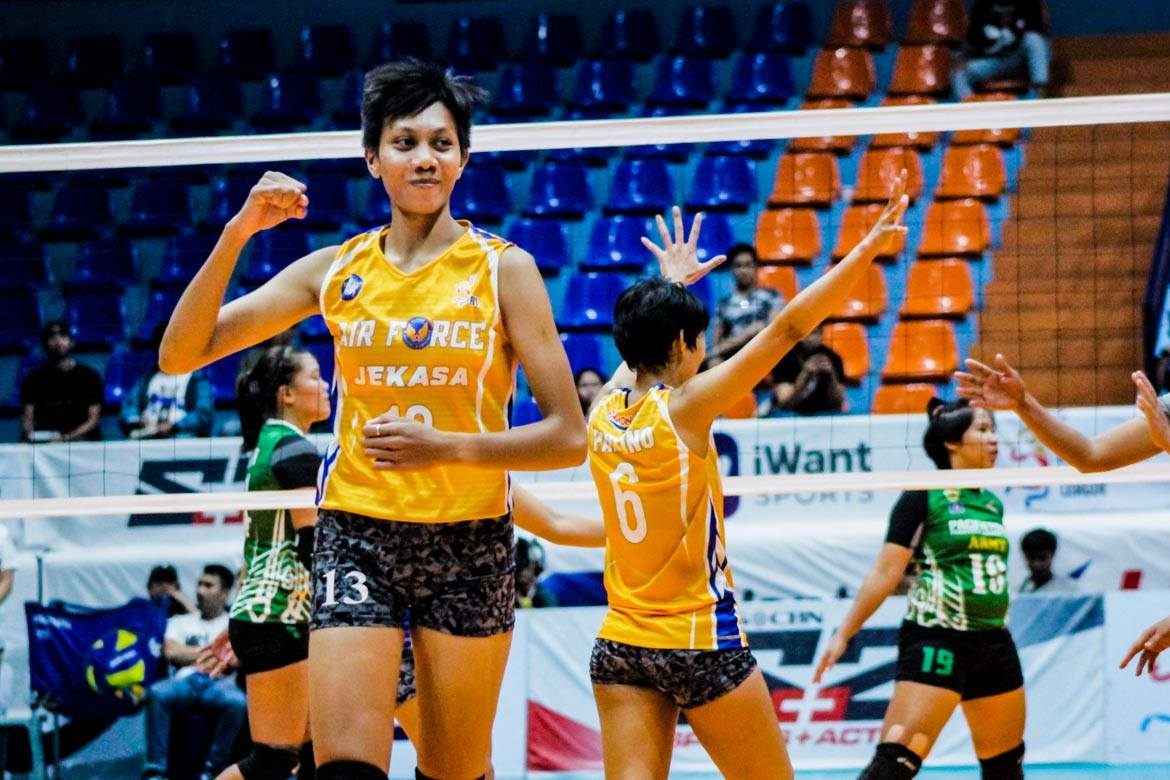 Tiebreaker Times Air Force pounces on Gonzaga-less PacificTown-Army to end campaign News PVL Volleyball  Wendy Semana Royse Tubino Philippine Air Force Jet Spikers Pacific Town-Army Lady Troopers Nene Bautista Mary Ann Pantino Kungfu Reyes Judy Caballejo Joy Cases Joanne Bunag Jem Guttierez Jasper Jimenez Dell Palomata 2019 PVL Season 2019 PVL Open Conference