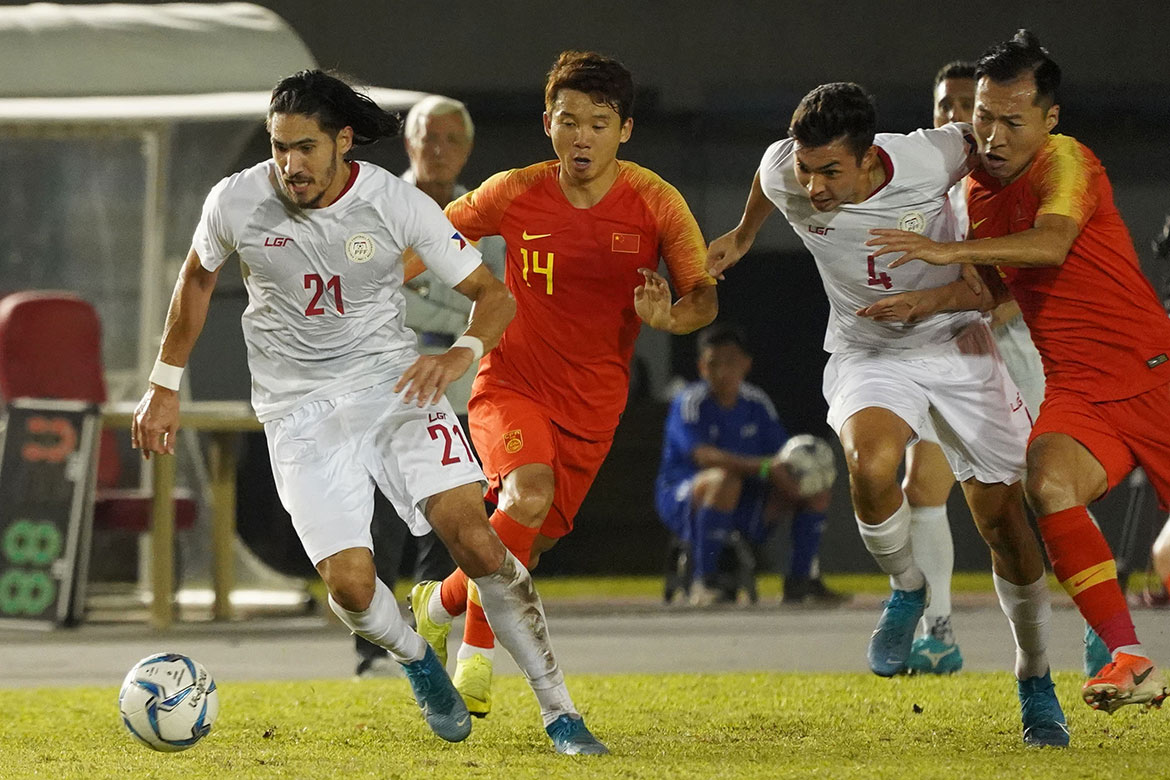 Tiebreaker Times Etheridge leads way as Philippine Azkals hold off China in Panaad Football News Philippine Azkals  Yang Xu Yan Junling Wu Xi Wu Lei Scott Cooper Neil Etheridge Martin Steuble Mark Hartmann Marcello Lippi Daisuke Sato China (Football) Ai Kesen 2022 World Cup Qualifiers