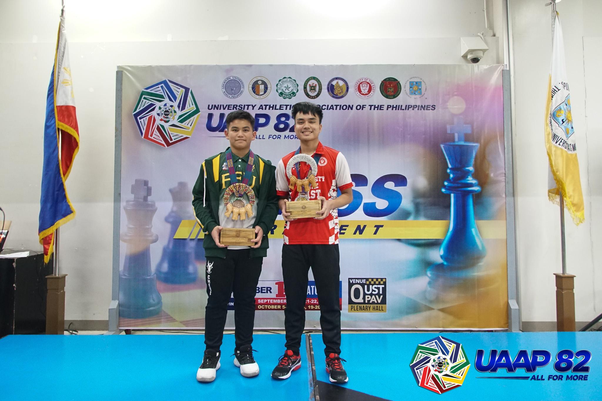UAAP-82-Boys-Chess-Awarding-5-MVP-Lee-Roi-Palma-and-ROY-Alekhine-Nouri NU overtakes FEU to take UAAP Girls' Chess crown, UE Boys' ends 13-year drought ADMU AdU Chess DLSU FEU News NU UAAP UE UST  - philippine sports news