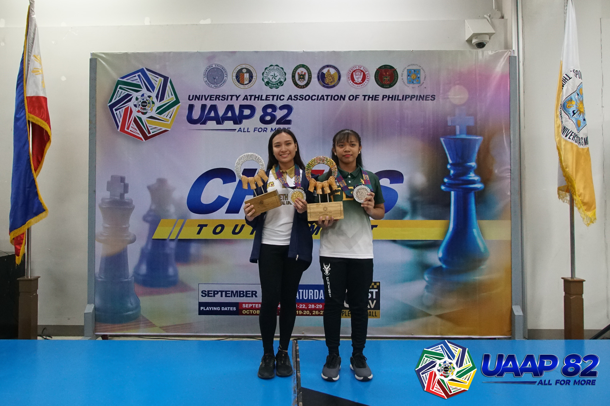 UAAP-82-Girls-Chess-Awarding-1-MVP-Allaney-Doroy-and-ROY-Mhage-Sebastian NU overtakes FEU to take UAAP Girls' Chess crown, UE Boys' ends 13-year drought ADMU AdU Chess DLSU FEU News NU UAAP UE UST  - philippine sports news