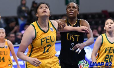 Tiebreaker Times Clare Castro looks to match Grace Irebu speed for speed Basketball FEU News UAAP  UAAP Season 82 Women's Basketball UAAP Season 82 FEU Women's Basketball Clare Castro Bert Flores