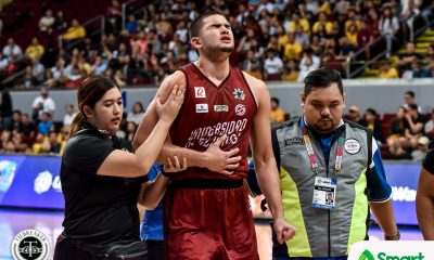 Tiebreaker Times Kobe Paras, Mark Nonoy suffer injuries in hard-fought UP-UST game Basketball News UAAP UP UST  UST Men's Basketball UP Men's Basketball UAAP Season 82 Men's Basketballl UAAP Season 82 Mark Nonoy Kobe Paras
