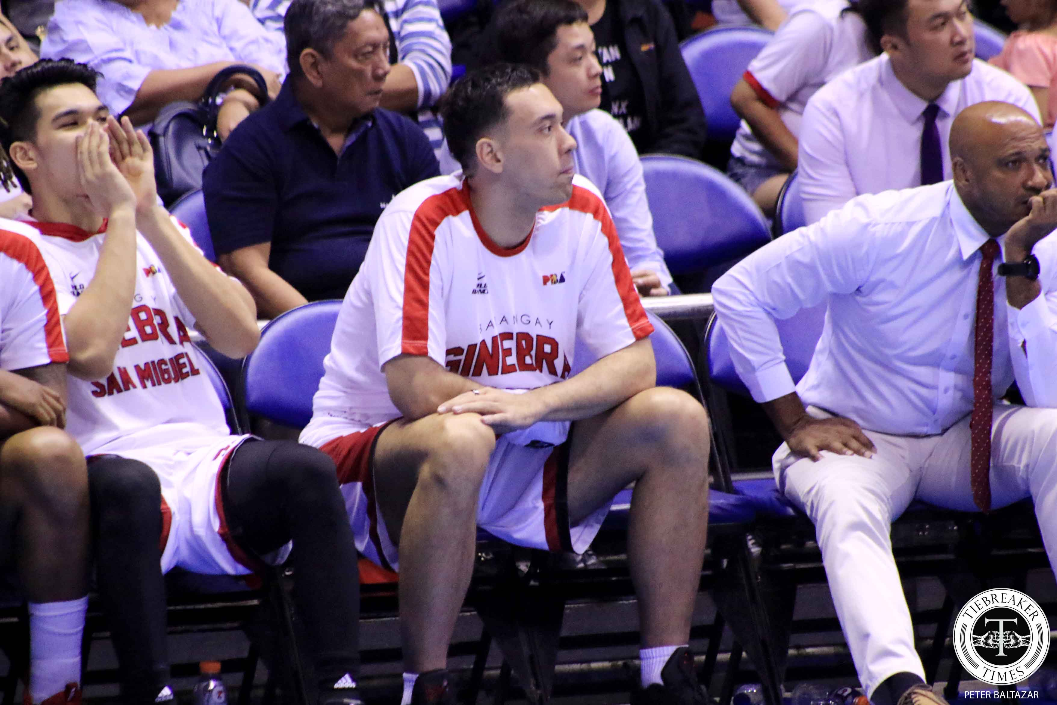 Tiebreaker Times Greg Slaughter day-to-day after dislocating thumb Basketball News PBA  Tim Cone PBA Season 44 Greg Slaughter Barangay Ginebra San Miguel 2019 PBA Governors Cup