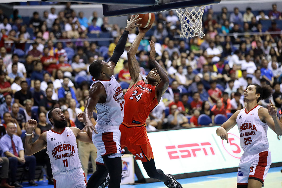 Tiebreaker Times NorthPort stuns Ginebra, enters quarterfinals Basketball News PBA  Tim Cone Stanley Pringle Sean Anthony Pido Jarencio PBA Season 44 Northport Batang Pier Michael Qualls LA Tenorio Kevin Ferrer Justin Brownlee Japeth Aguilar Christian Standhardinger Barangay Ginebra San Miguel 2019 PBA Governors Cup