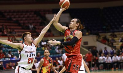 Tiebreaker Times All-Filipino San Miguel withstands Blackwater in OT Basketball News PBA  Terrence Romeo San Miguel Beermen PBA Season 44 Marqus Blakely Marcio Lassiter Mac Belo Leo Austria KG Canaleta June Mar Fajardo Don Trollano Blackwater Elite Arwind Santos Aris Dimaunahan 2019 PBA Governors Cup