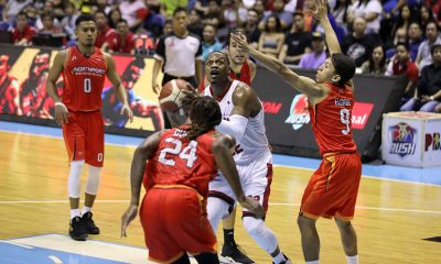 Tiebreaker Times Brownlee, Ginebra rout NorthPort anew, move on verge of Finals Basketball News PBA  Tim Cone Stanley Pringle Sean Anthony Pido Jarencio PBA Season 44 Paolo Taha Northport Batang Pier Michael Qualls Jeff Chan Japeth Aguilar Christian Standhardinger Barangay Ginebra San Miguel 2019 PBA Governors Cup