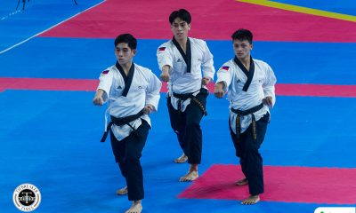 Tiebreaker Times Junior Reyes, Mella bros dominate for fourth straight SEAG men's team poomsae gold 2019 SEA Games News Taekwondo  Rodolfo Reyes Jr Enrico Mella Dustin Mella 2019 SEA Games - Taekwondo 2019 SEA Games