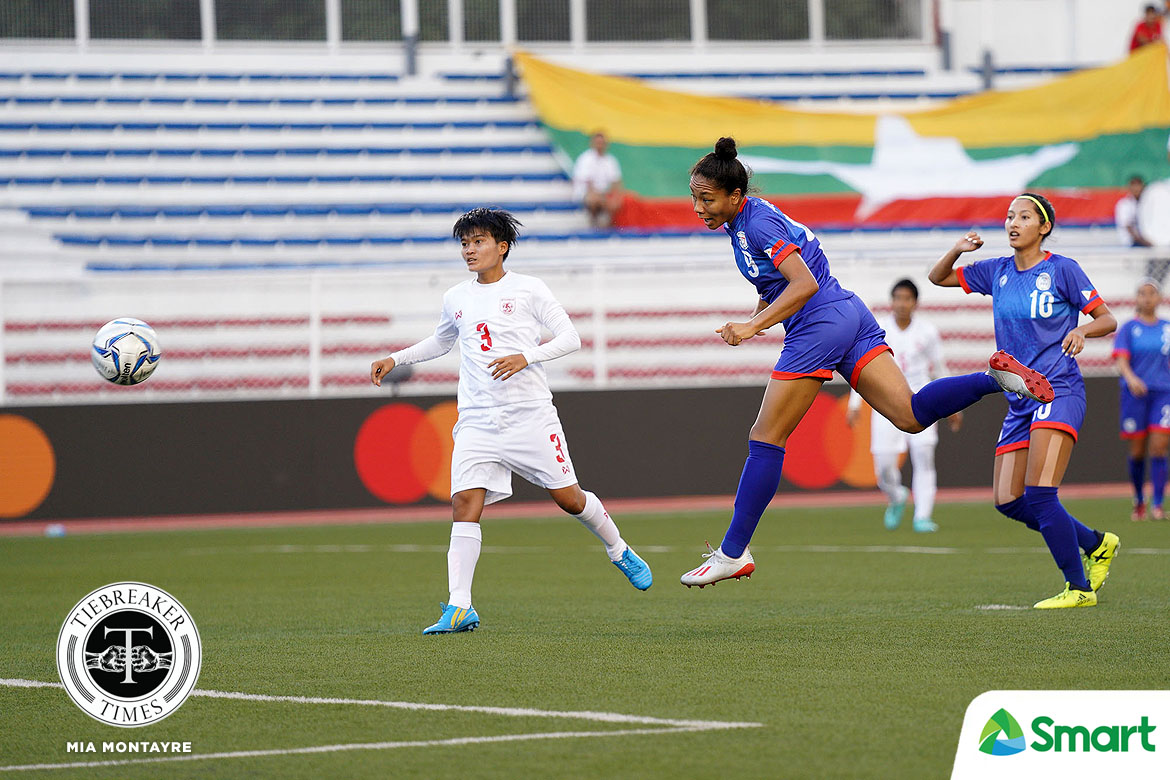 Tiebreaker Times Quezada strike not enough as PWNFT falters in SEAG bronze match 2019 SEA Games Football News Philippine Malditas  Yee Yee Oo Sarina Bolden Sara Castaneda Quinley Quezada Philippine Women's National Football Team Myanmar (Football) Mya Pu Ngon Let Dimzon Khin Moe Wa Inna Palacios 2019 SEA Games - Football 2019 SEA Games