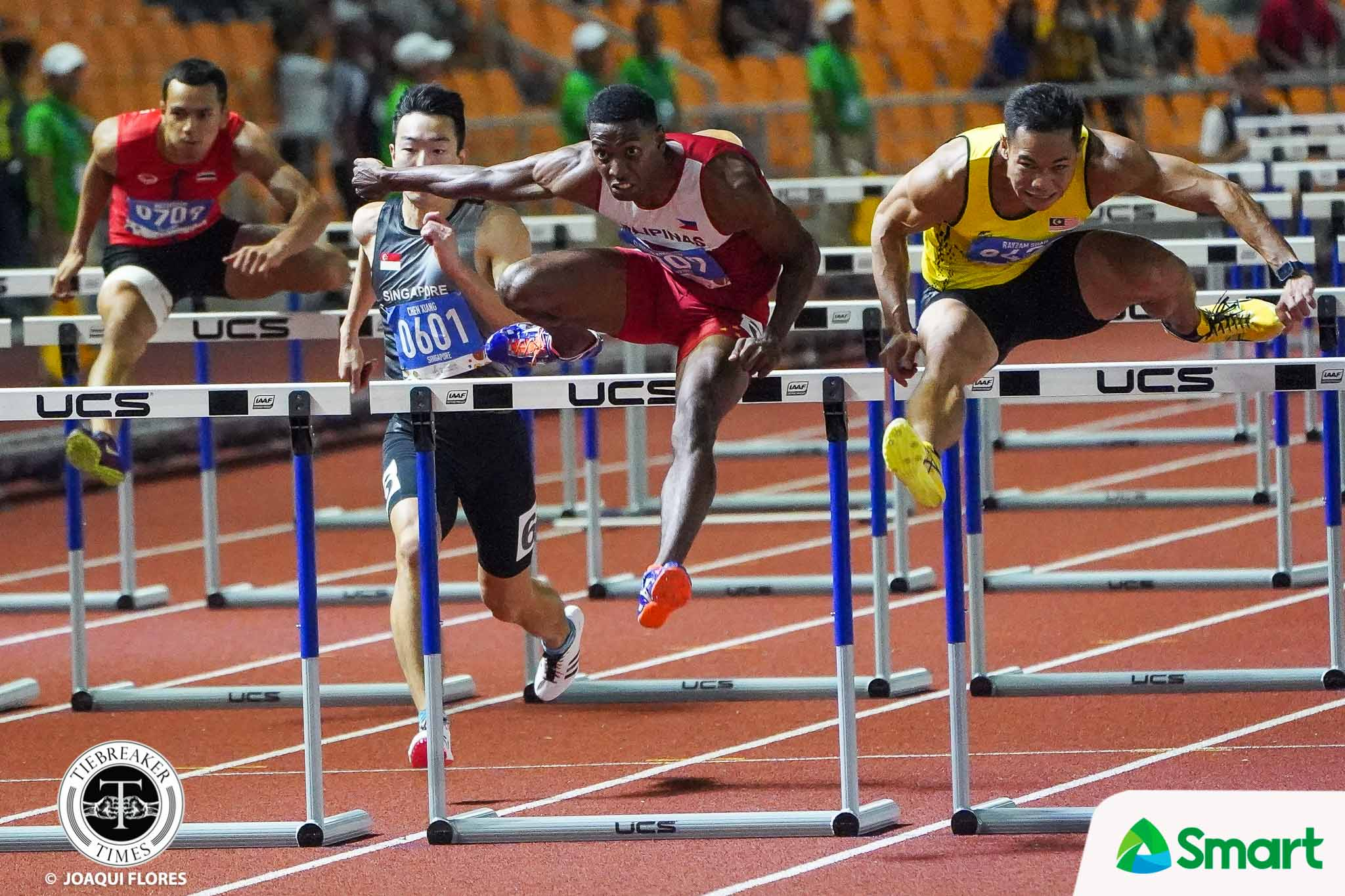 Tiebreaker Times Photo-Finish: Clinton Bautista outlasts reigning champ to win SEAG hurdles gold 2019 SEA Games News Track & Field  Clinton Kingsley Bautista 2019 SEA Games - Athletics 2019 SEA Games