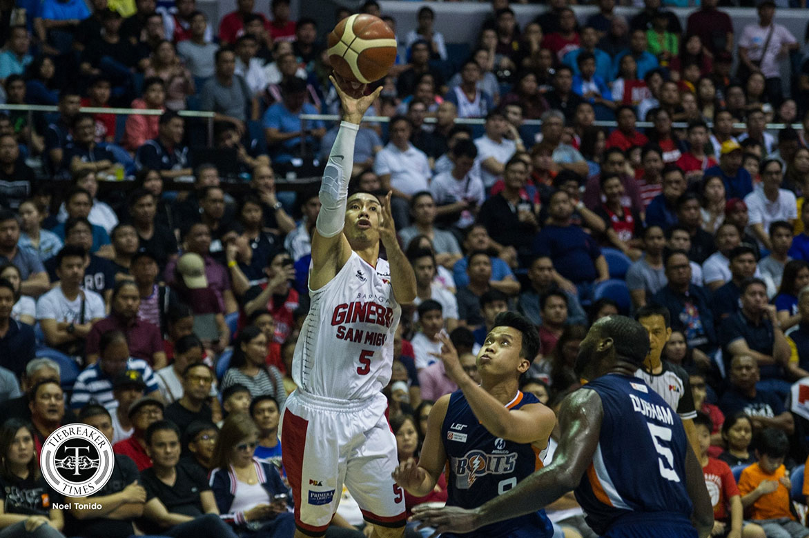 Tiebreaker Times Almazan knows Tenorio hit had no malice: 'It's part of the game' Basketball News PBA  Raymond Almazan PBA Season 44 Meralco Bolts LA Tenorio Barangay Ginebra San Miguel 2019 PBA Governors Cup