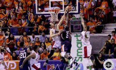 Tiebreaker Times Brownlee, Aguilar deliver in clutch as Ginebra escapes Meralco in epic Game One Basketball News PBA  Tim Cone Stanley Pringle Raymond Almazan PBA Season 44 Norman Black Meralco Bolts LA Tenorio Justin Brownlee Japeth Aguilar Chris Newsome Barangay Ginebra San Miguel Allen Durham 2019 PBA Governors Cup