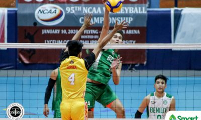 Tiebreaker Times Vince Abrot buoys CSB Blazers back to win column, nips Baste in NCAA 95 CSB NCAA News SSC-R Volleyball  Vince Abrot San Sebastian Men's Volleyball Saint Benilde Men's Volleyball Reynald Honra Norvie Labuga NCAA Season 95 Men's Volleyball NCAA Season 95 Kevin Magsino James Laguit Dominique Ramirez Arnold Laniog Ajian Dy