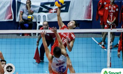 Tiebreaker Times San Beda Red Spikers deal Arellano first defeat in NCAA 95 AU NCAA News SBC Volleyball  Sherwin Meneses San Beda Men's Volleyball NCAA Season 95 Men's Volleyball NCAA Season 95 Lorenz Calayag Jesrael Liberato Jeffrey Losa Fernando Lopez Edmark Meneses Christian dela Paz Ariel Dela Cruz Arellano Men's Volleyball Abdurasad Nursiddik