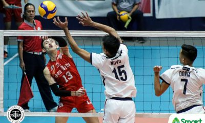 Tiebreaker Times Losa powers San Beda Red Spikers back to NCAA 95 win column at Letran's expense CSJL NCAA News SBC Volleyball  San Beda Men's Volleyball NCAA Season 95 Men's Volleyball NCAA Season 95 Michael Doria Letran Men's Volleyball Jeffrey Losa Fernando Lopez Ferdinand Ulibas Jr. Brylle Novo Brian Esquibel Ariel Dela Cruz Andrei Tongio