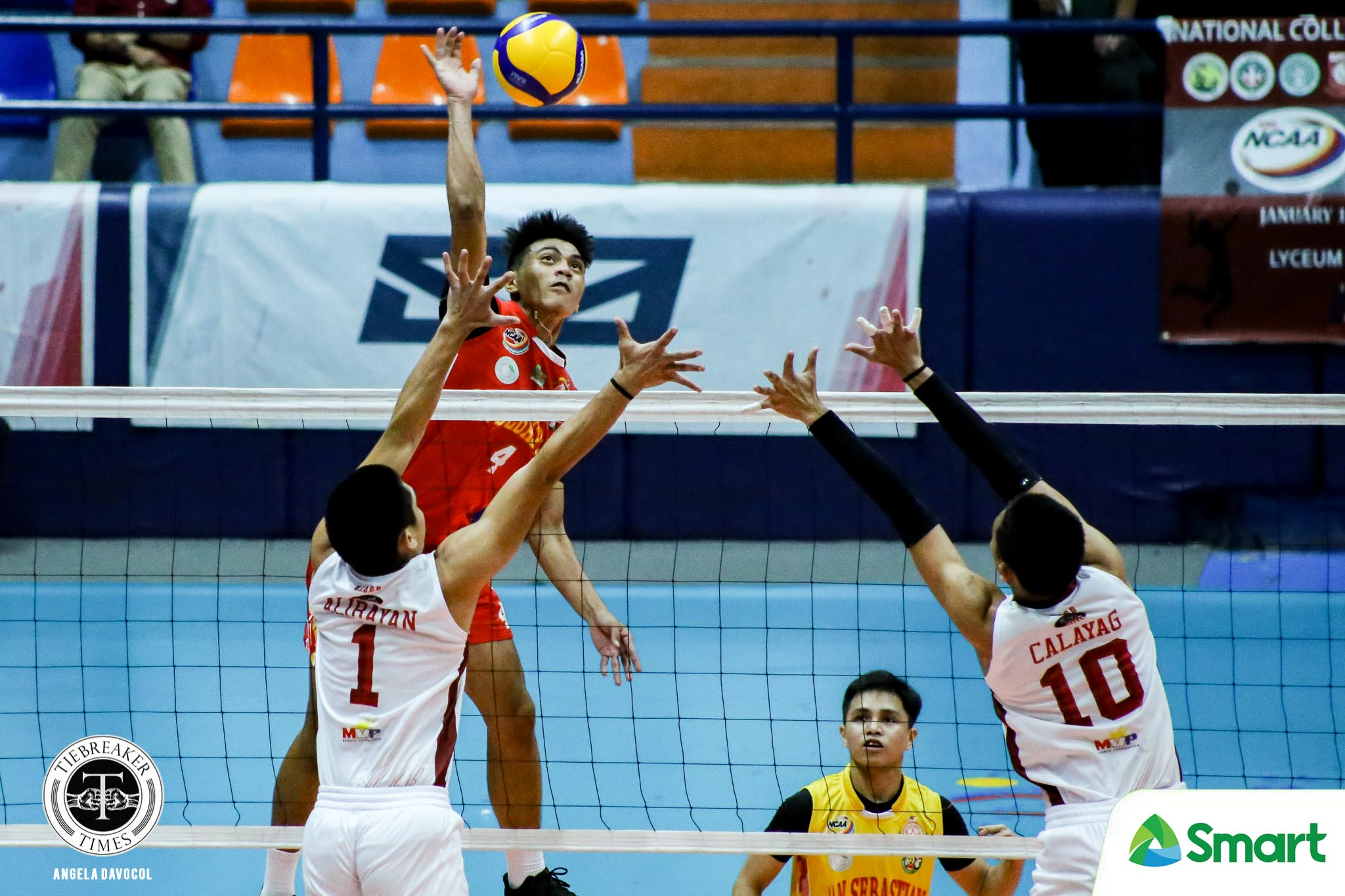 Tiebreaker Times San Sebastian Golden Stags carve out first win in NCAA 95 at San Beda's expense NCAA News SBC SSC-R Volleyball  San Sebastian Men's Volleyball San Beda Men's Volleyball Reynald Honra NCAA Season 95 Men's Volleyball NCAA Season 95 John Mark Lim Fernando Lopez Ferdinand Ulibas Jr. Dominique Ramirez Ariel Dela Cruz Aldre Ferrer