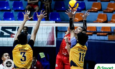 Tiebreaker Times Young San Beda Red Spikers defuse JRU to kick off NCAA 95 bid JRU NCAA News SBC Volleyball  Wilbert Cebrero San Beda Men's Volleyball RJ Dela Paz NCAA Season 95 Men's Volleyball NCAA Season 95 Melver Lapurga Matthew Miguel June Laxina JRU Men's Volleyball Jeffrey Losa Fernando Lopez Ferdinan Ulibas Jr. Dong dela Cruz Abdurasad Nursiddik