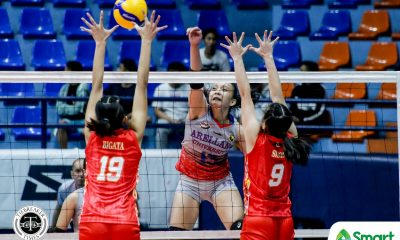 Tiebreaker Times Arocha tallies career-high as Arellano Lady Chiefs edge San Sebastian in NCAA 95 AU NCAA News SSC-R Volleyball  San Sebastian Women's Volleyball Reyann Canete Regine Arocha Obet Javier Norvie Labuga Necole Ebuen NCAA Season 95 Women's Volleyball NCAA Season 95 Jewelle Bermillo Jamille Carreon Faye Flores Donnalyn Paralejas Arellano Women's Volleyball