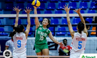 Tiebreaker Times Abriam finds form as CSB Lady Blazers run past EAC for solo lead in NCAA 95 CSB NCAA News Volleyball  Saint Benilde Women's Volleyball Rod Palmero NCAA Season 95 Women's Volleyball NCAA Season 95 Michelle Gamit Krizzia Reyes Klarisa Abriam Jewel Lai Jerry Yee EAC Women's Volleyball Christine Lim​ Arianne Daguil