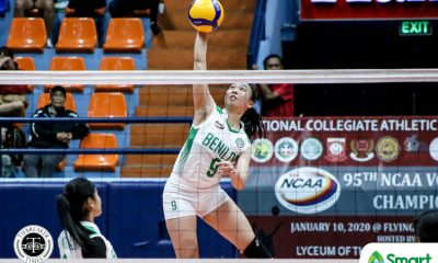 Tiebreaker Times Pascual peppers San Beda as CSB Lady Blazers inch closer to NCAA 95 Final Four CSB NCAA News SBC Volleyball  San Beda Women's Volleyball Saint Benilde Women's Volleyball Nieza Viray Nemesio Gavino Jr. NCAA Season 95 Women's Volleyball NCAA Season 95 Mycah Go Lynne Matias Jerry Yee Gayle Pascual Ella Viray Diane Ventura Daryl Racraquin Cloanne Mondonedo Christine Lim​ Cesca Racraquin Aurea Racraquin