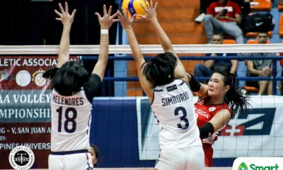 Tiebreaker Times San Beda Lady Spikers turn back Letran, go to 3-0 in NCAA 95 CSJL NCAA News SBC Volleyball  San Beda Women's Volleyball Nieza Viray Nemesio Gavino NCAA Season 95 Women's Volleyball NCAA Season 95 Michael Inoferio Lynne Matias Letran Women's Volleyball Julia Angeles Daryl Racraquin Charm Simborio Chamberlaine Cunada Cesca Racraquin