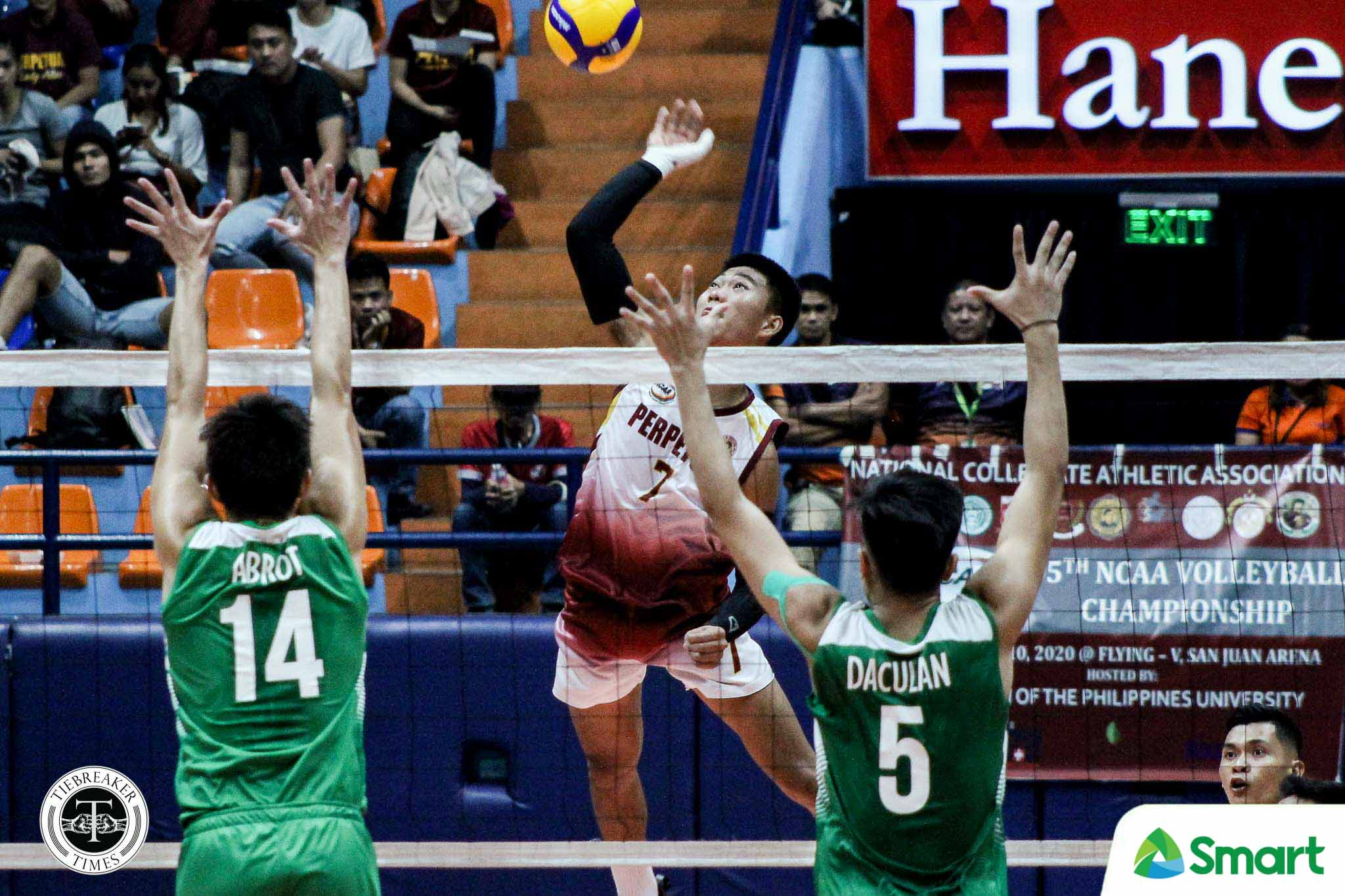Tiebreaker Times Perpetual Altas kick off NCAA three-peat bid on right track with sweep of CSB CSB NCAA News UPHSD Volleyball  Vince Abrot Sammy Acaylar Saint Benilde Men's Volleyball Perpetual Men's Volleyball NCAA Season 95 Men's Volleyball NCAA Season 95 Louie Ramirez Kennry Malinis Hero Austria EJ Casana Arnold Laniog