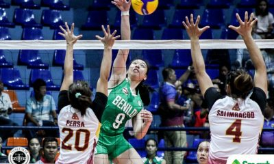 Tiebreaker Times CSB Lady Blazers send statement in NCAA opener, overcome Perpetual CSB NCAA News UPHSD Volleyball  Saint Benilde Women's Volleyball Perpetual Women's Volleyball NCAA Season 95 Women's Volleyball NCAA Season 95 Mycah Go Macky Cariño Jhona Rosal Jerry Yee Jade Gentapa Gayle Pascual Dana Persia Cloanne Mondonedo Bianca Tripoli