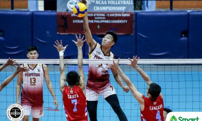 Tiebreaker Times Perpetual Altas deal EAC first loss, close in on outright NCAA 95 Finals berth EAC NCAA News UPHSD Volleyball  Sammy Acaylar Ronniel Rosales Rod Palmero Perpetual Men's Volleyball NCAA Season 95 Men's Volleyball NCAA Season 95 Michael Imperial Louie Ramirez Kennry Malinis Joshua Miña Hero Austria EJ Casana Earl Magadan EAC Men's Volleyball Danrich Melad