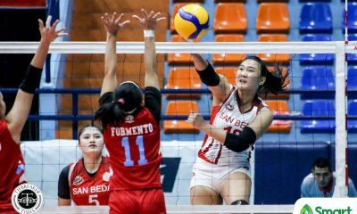 Tiebreaker Times San Beda Lady Red Spikers arrest slump in NCAA 95, sweep EAC EAC NCAA News SBC Volleyball  San Beda Women's Volleyball Rod Palmero Nieza Viray Nemesio Gavino Jr. NCAA Season 95 Women's Volleyball NCAA Season 95 Lynne Matias Jayrah Mangaring EAC Women's Volleyball Daryl Racraquin Cesca Racraquin Catherine Almazan