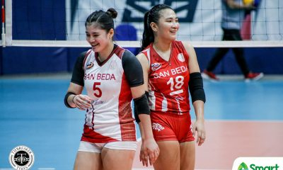 Tiebreaker Times San Beda Lady Red Spikers drag Perpetual to tie at third in NCAA 95 NCAA News SBC UPHSD Volleyball  San Beda Women's Volleyball Perpetual Women's Volleyball Nieza Viray Nemesio Gavino Jr. NCAA Season 95 Women's Volleyball NCAA Season 95 Macky Cariño Lynne Matias Daryl Racraquin Cesca Racraquin