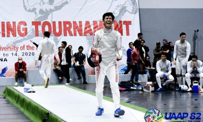 Tiebreaker Times Sam Tranquilan crowned MVP as UE captures eighth straight UAAP Men's Fencing crown ADMU DLSU Fencing News UAAP UE  UE Men's Fencing UAAP Season 82 Men's Fencing UAAP Season 82 Sammuel Tranquilan DLSU Men's Fencing Ateneo Men's Fencing Amatov Canlas