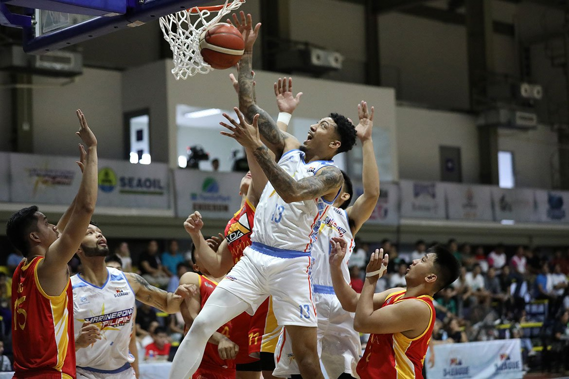 Tiebreaker Times Jamie Malonzo shines in D-League debut as Marinerong Pilipino hacks out win over Mapua Basketball MIT News PBA D-League  Yong Garcia Randy Alcantara Marinerong Pilipino Laurenz Victoria Juan Gomez De Liano Jamie Orme-Malonzo Jamie Orme Alfred Batino ADG Dong-Mapua Cardinals 2020 PBA D-League Season 2020 PBA D-League Aspirants Cup