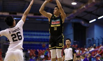 Tiebreaker Times Deo Cuajao drains 7 triples as UST torches TIP in D-League Basketball News PBA D-League UST  UST-Builders Warehouse Growling Tigers TIP Engineers Soulemane Chabi Yo Rhenz Abando Potit De Vera Papa N'diaye Ferdinand Asuncion Deo Cuajao Brian Santos Aldin Ayo 2020 PBA D-League Season 2020 PBA D-League Aspirants Cup