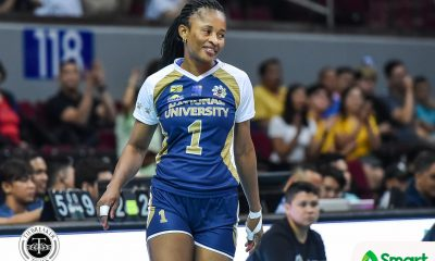 Tiebreaker Times NU's Margot Mutshima lets game do the talking News NU UAAP Volleyball  UAAP Season 82 Women's Volleyball UAAP Season 82 Risa Sato NU Women's Volleyball Margot Mutshima Jennifer Nierva