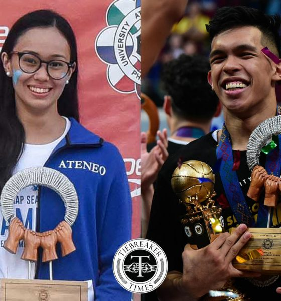 Tiebreaker Times Thirdy Ravena, Chloe Daos hailed as Moro Lorenzo Sportspeople of the Year ADMU Basketball News Swimming UAAP  UAAP Season 82 Thirdy Ravena Chloe Daos Ateneo Women's Swimming Ateneo Men's Basketball