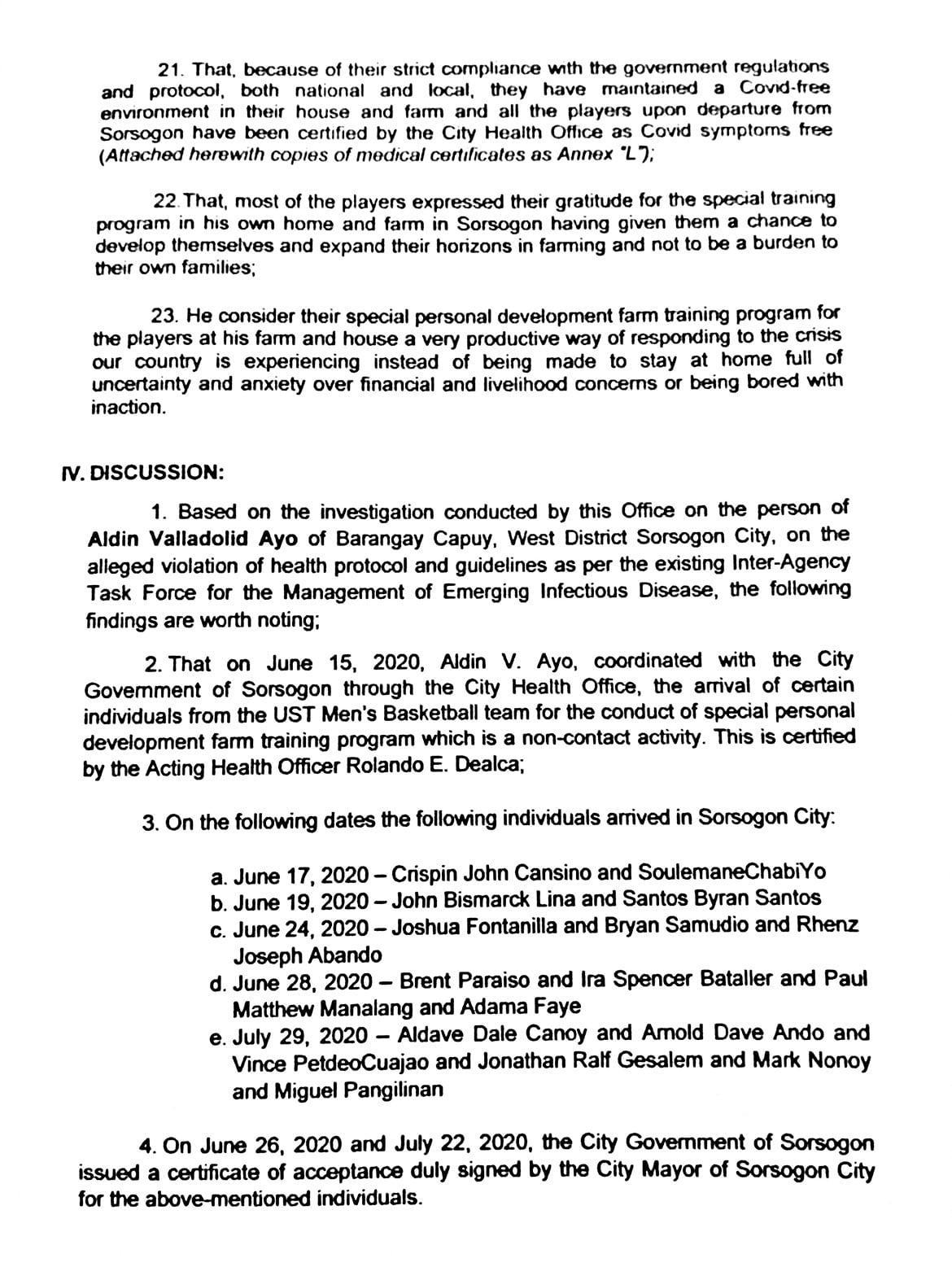 Tiebreaker Times PNP, Gov. Escudero absolve Aldin Ayo of liability from 'Bicol bubble' Basketball News UAAP UST  UST Men's Basketball UAAP Season 83 Men's Basketball UAAP Season 83 Coronavirus Pandemic Aldin Ayo