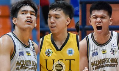 Tiebreaker Times DLSU's Quiambao, UP's Abadiano play tug of war for UST's Lina Basketball DLSU News UAAP UP UST  UST Men's Basketball UP Men's Basketball UAAP Season 83 Men's Basketball UAAP Season 83 Kevin Quiambao Gerry Abadiano DLSU Men's Basketball Bismarck Lina