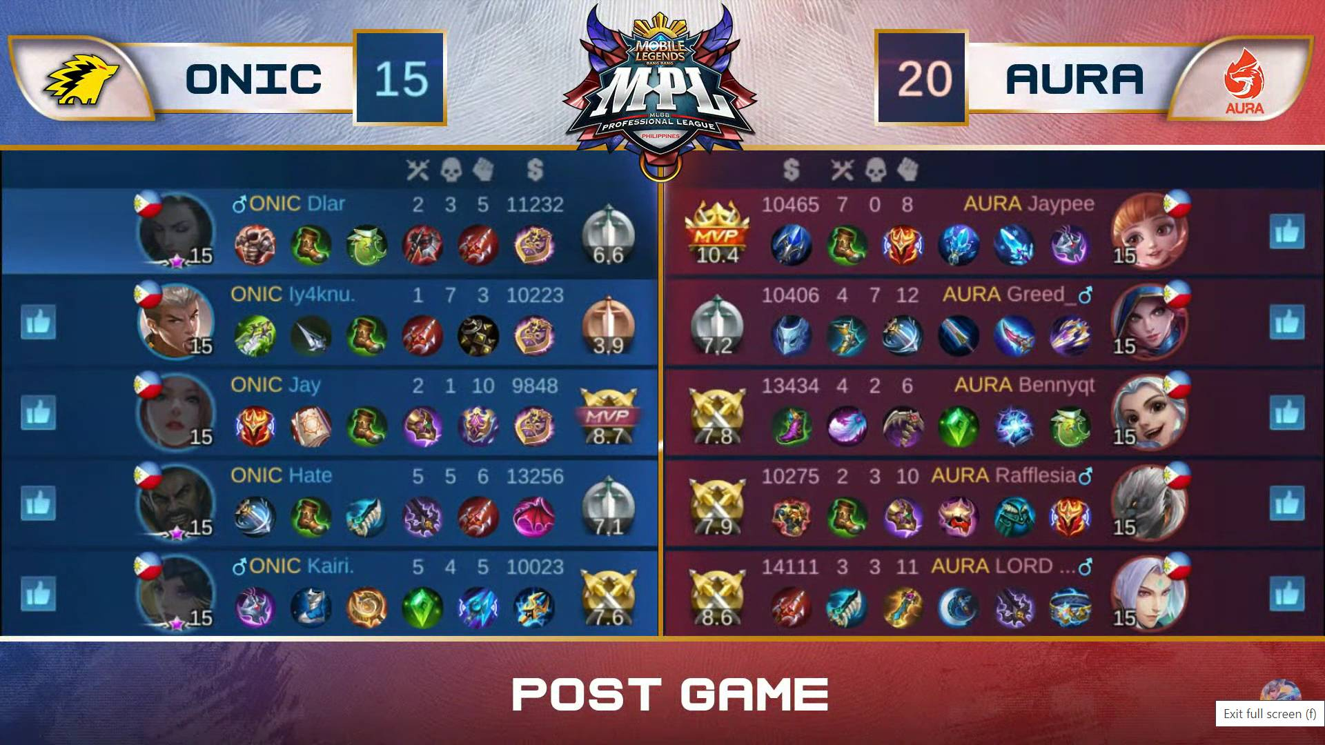 MPL-PH-7-Aura-def-ONIC-Game-2 Jaypee displays new facet, leads Aura past rivals ONIC in MPL PH ESports Mobile Legends MPL-PH News  - philippine sports news