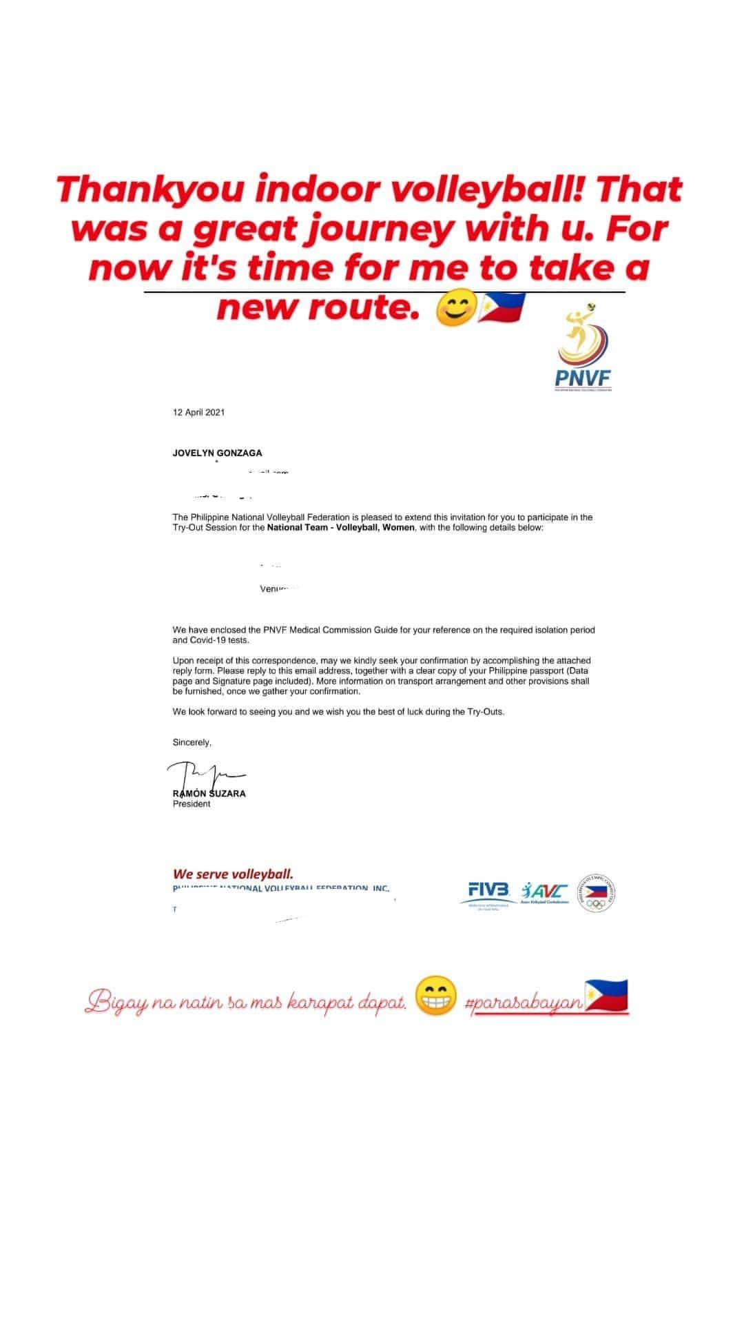 PNWVT-Jovelyn-Gonzaga Jovelyn Gonzaga forgoing spot in indoor volley NT News PVL Volleyball  - philippine sports news