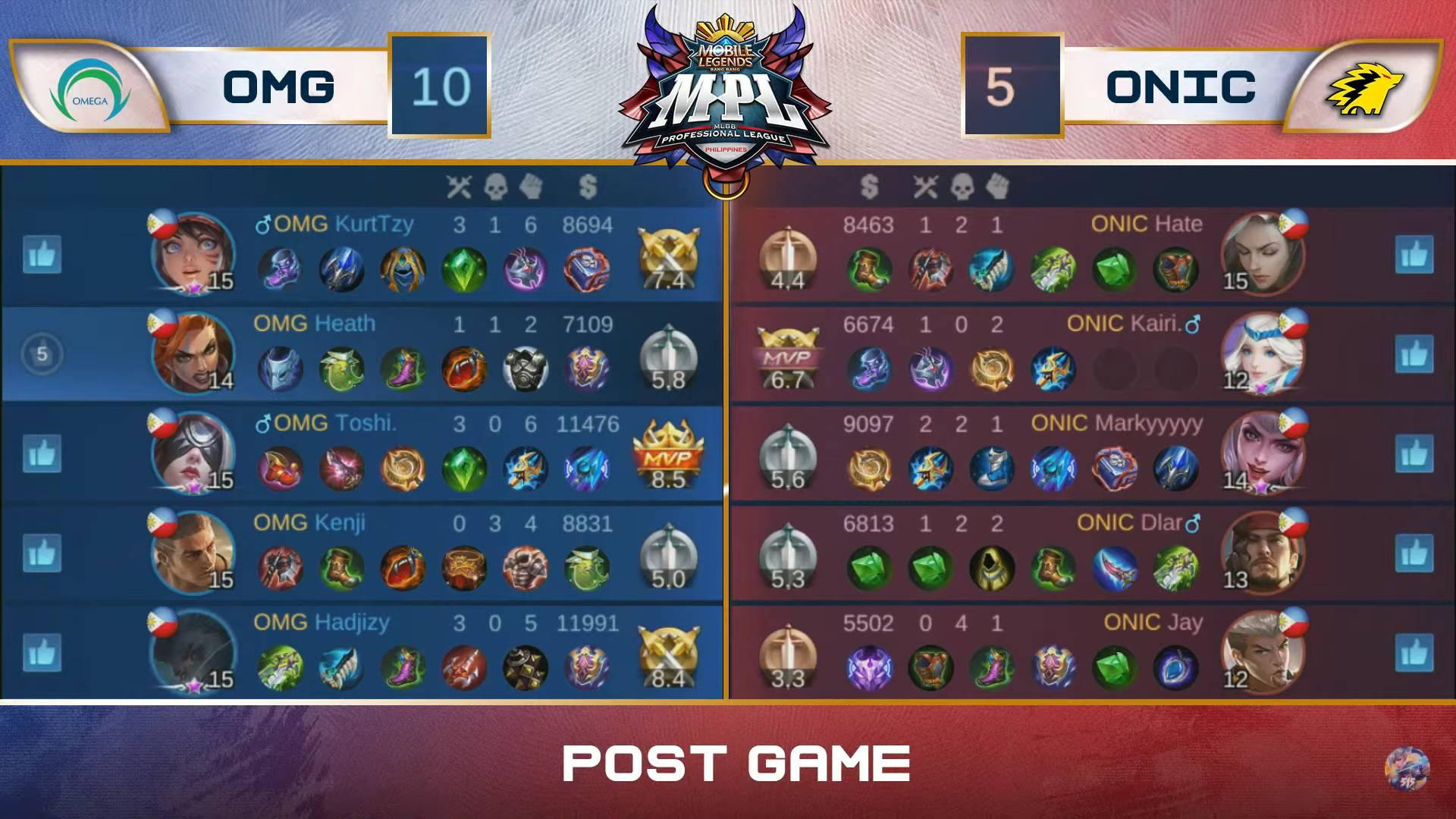 MPL-PH-Season-7-Omega-def-ONIC-Game-2 Heath returns to main five as SMART Omega thrashes ONIC in MPL PH ESports Mobile Legends MPL-PH News  - philippine sports news