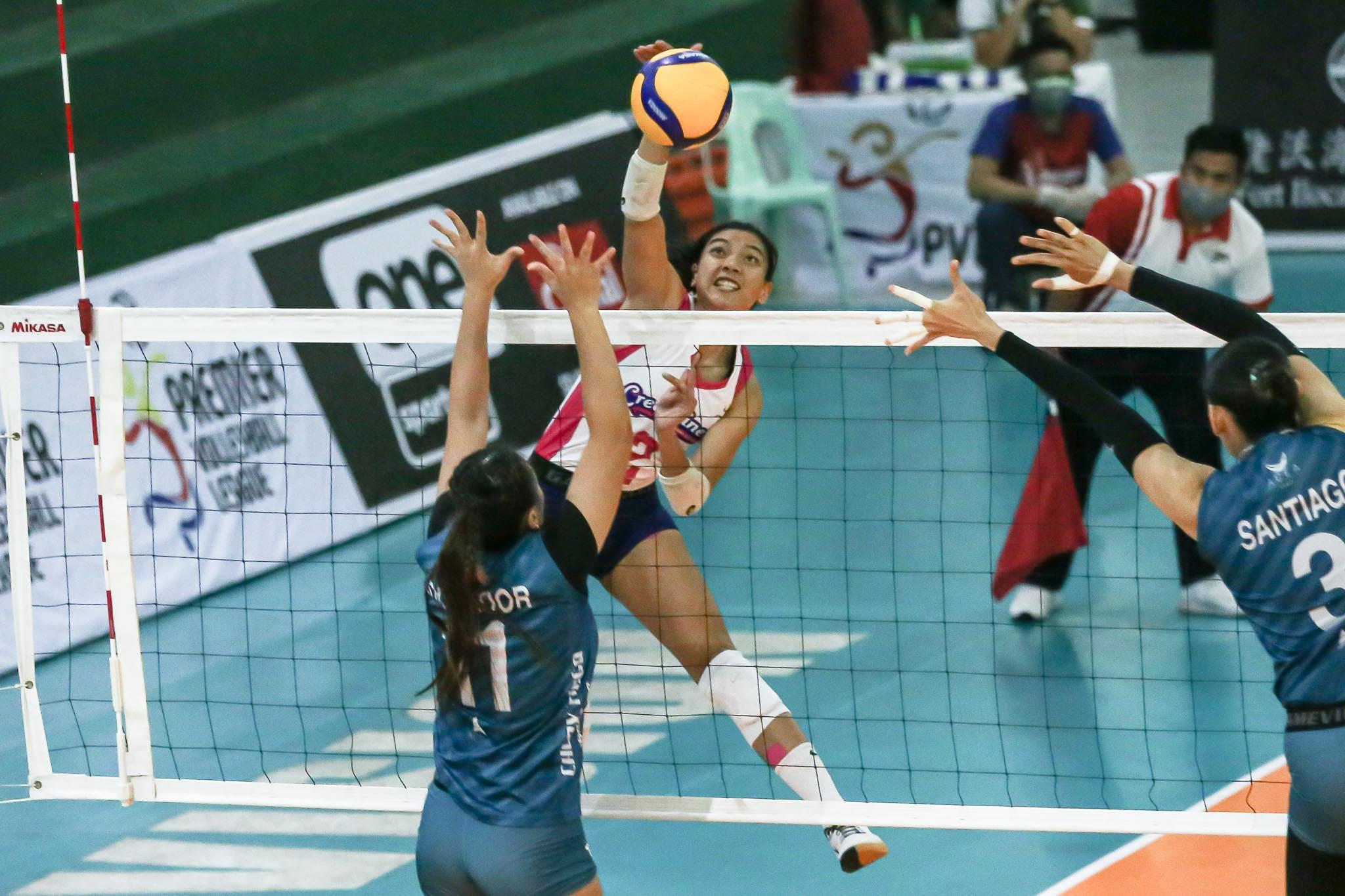2021-PVL-OPEN-Creamline-vs-Chery-Valdez-Creamline Jaja Santiago on facing Alyssa Valdez again: 'Nakaka-miss' News PVL Volleyball  - philippine sports news