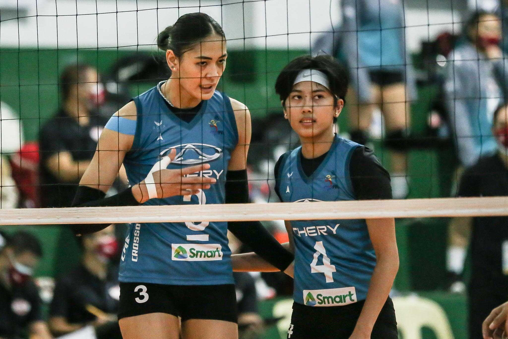 PVL-2021-Chery-Tiggo-vs-PLDT-Jaja-Santiago-Jasmine-Nabor-Chery Jaja, Dindin relish on-court reunion, looks forward for more News PVL Volleyball  - philippine sports news