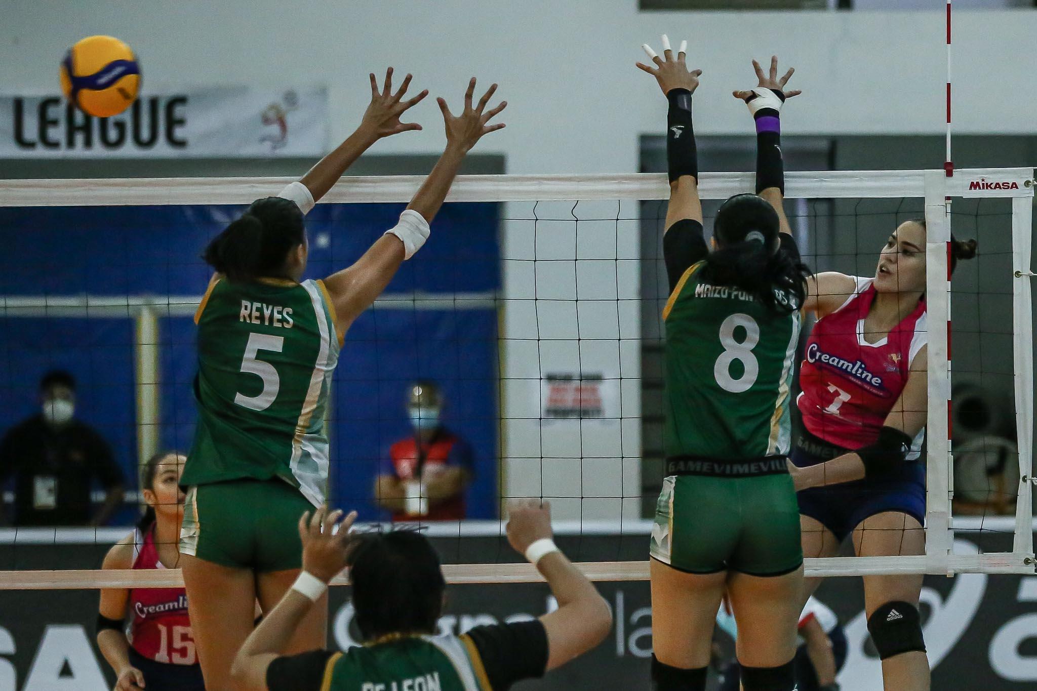 PVL-2021-Sta.-Lucia-vs-Creamline-Michele-Gumabao-Creamline Michele Gumabao credits Creamline coaches for sensational PVL return News PVL Volleyball  - philippine sports news