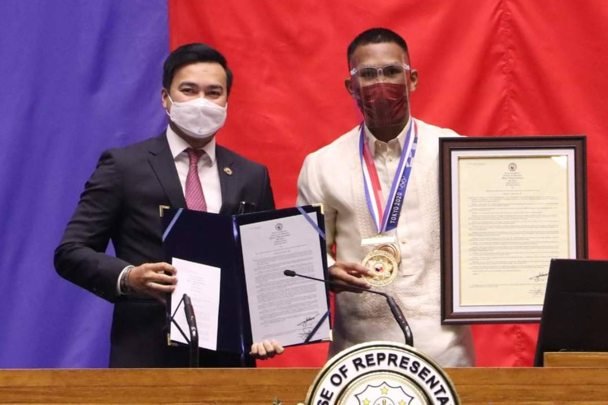 Tokyo-2020-Congress-Lord-Velasco-x-Eumir-Marcial Congress gives Medal of Excellence to Hidilyn Diaz 2020 Tokyo Olympics Boxing News Weightlifting  - philippine sports news
